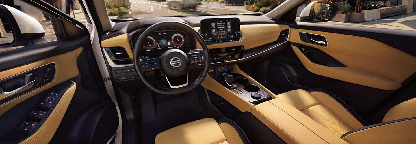 2021 Nissan Tan Quilted Semi-aniline Leather dash view in the Rogue