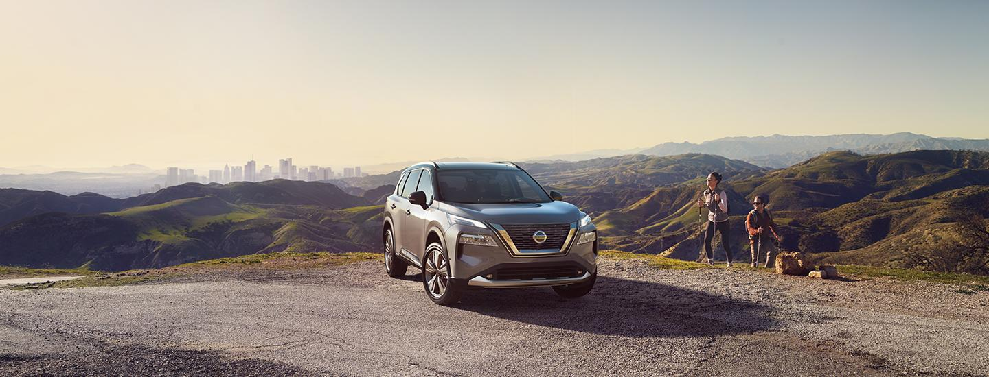 2021 Brilliant Silver Metallic Rogue parked in nature