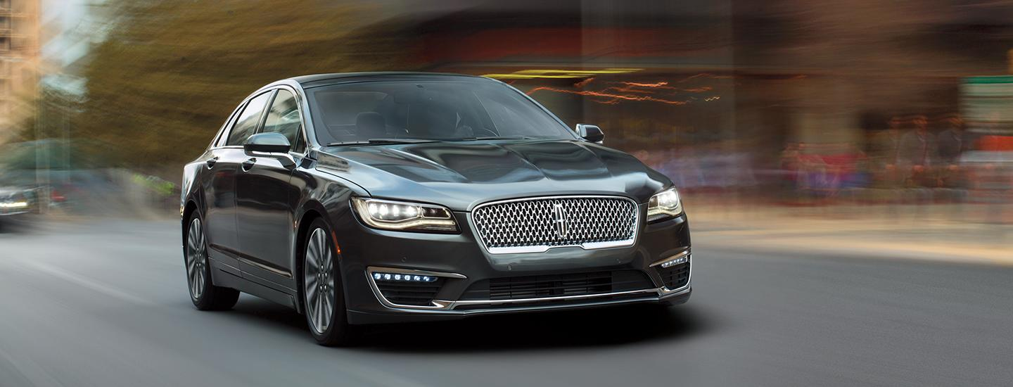 Front view of a grey 2020 Lincoln MKZ in motion