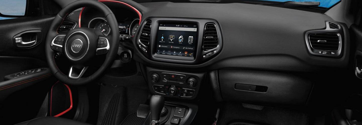 Interior image of the new 2020 Jeep Compass for sale at Marlow Motor in Front Royal VA.