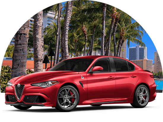 2019 Alfa Romeo Giulia in front of Tropical Background