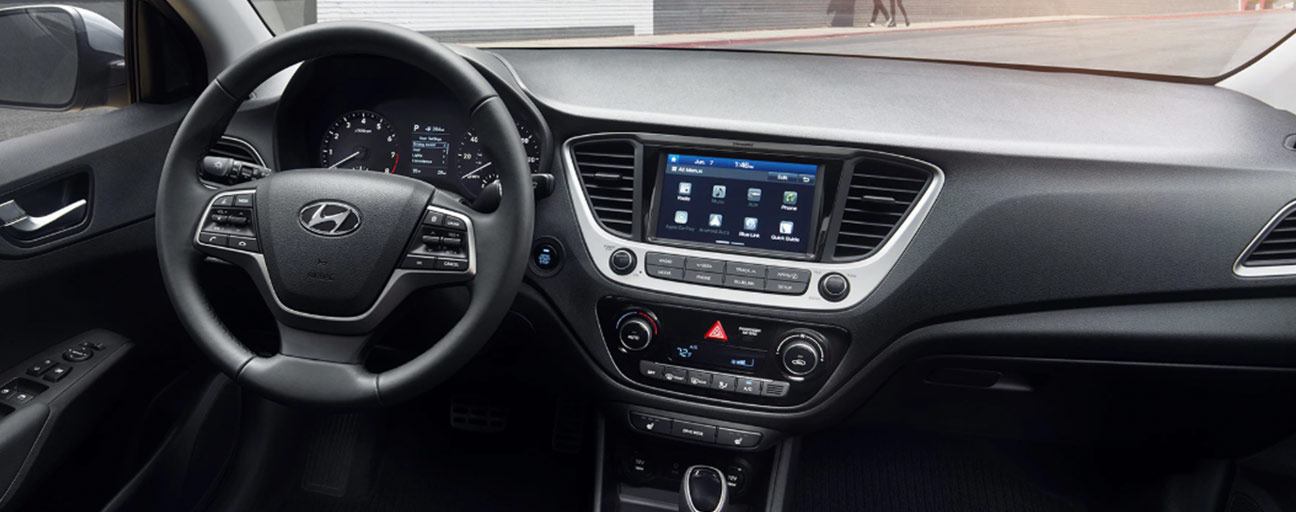 Safety features and interior of the 2019 Hyundai Accent is for sale at our Hyundai dealership in Reno NV