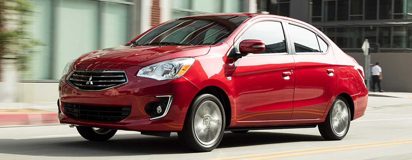 2019 Mitsubishi Mirage G4 front side driver side view in motion.