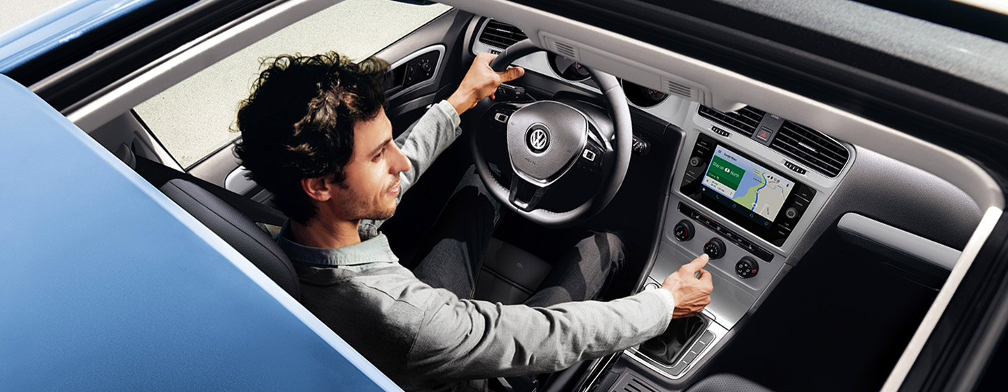 Safety features and interior of the 2019 Volkswagen Golf - available at our VW dealership near Miami.