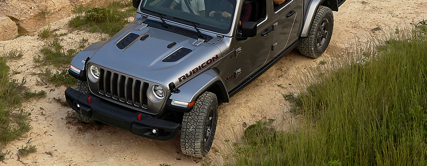 Aerial view of the exterior of the 2020 Jeep Gladiator Rubicon.