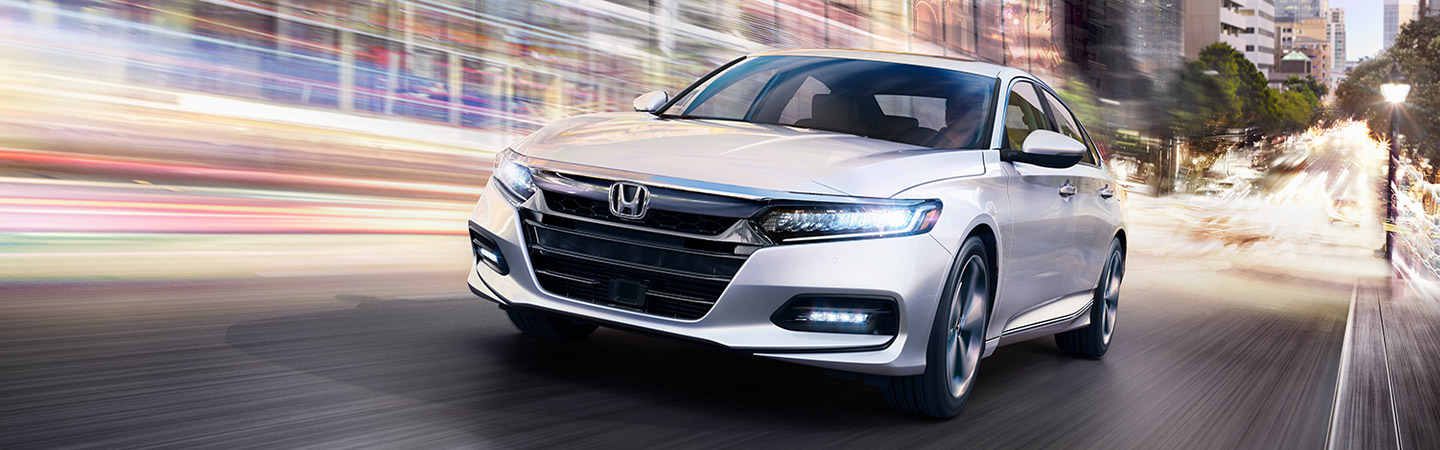 2019 Honda Accord silver front view in motion