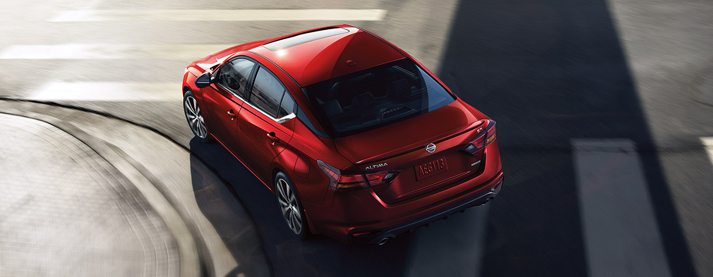 2019 Nissan Altima top view driving in the city.