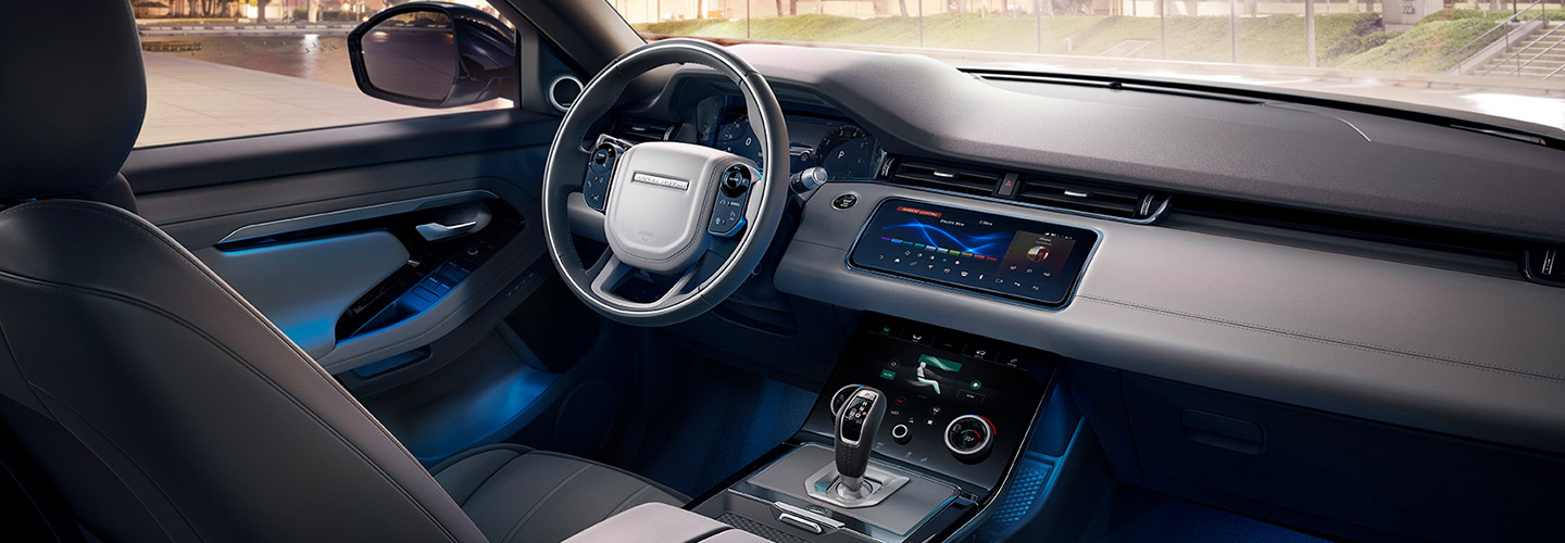 Safety features and interior of the 2020 Range Rover Evoque
