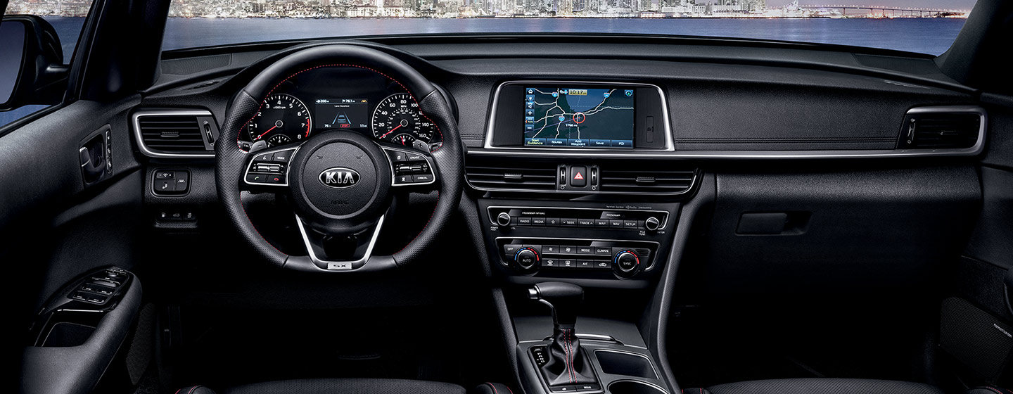 Safety features and interior of the 2019 Kia Optima - available at our Kia dealership near Oklahoma City, OK.