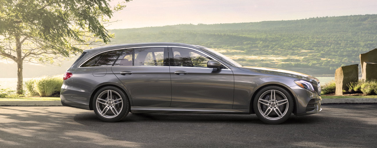 Exterior of a Mercedes-Benz E-Class in motion, available at Mercedes-Benz of Gainesville near The Villages, FL.