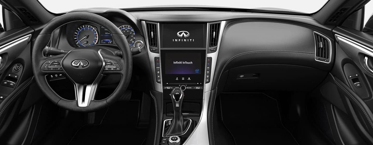 Safety features and interior of the 2019 INFINITI Q60 - available at our INFINITI dealership near Miami.
