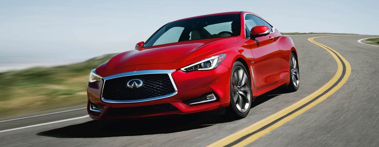 2019 INFINITI Q60 Exterior - Front View - Driving on the road.