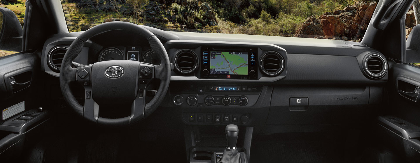 Safety features and interior of the 2019 Toyota Tacoma - available at our Toyota dealership in Atlanta, GA.
