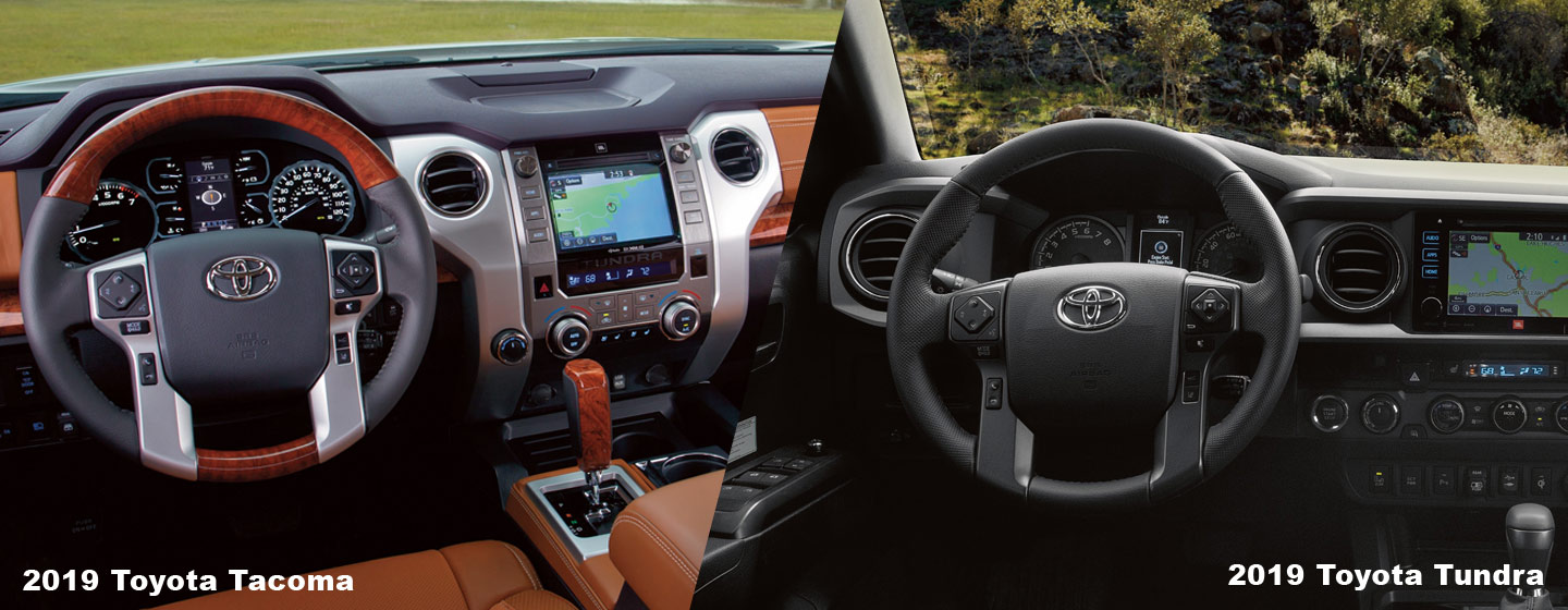 Safety features and interior of the 2019 Toyota Tacoma and Toyota Tundra - available at our Toyota dealership in Rock Hill, SC.