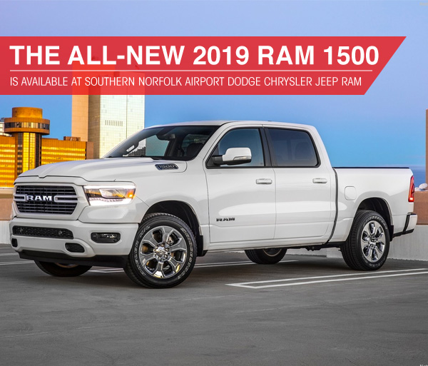 The 2019 RAM 1500 is available at Southern Dodge Chrysler Jeep Ram near Norfolk, VA