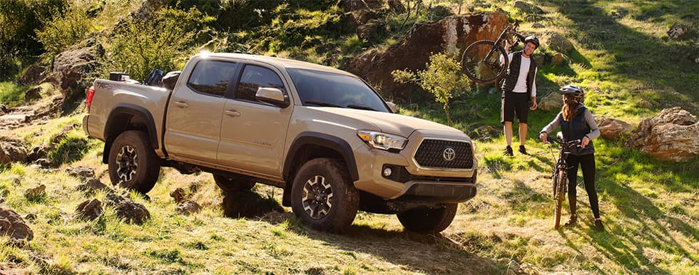 2019 Toyota Tacoma's offorad with mountain bikers.