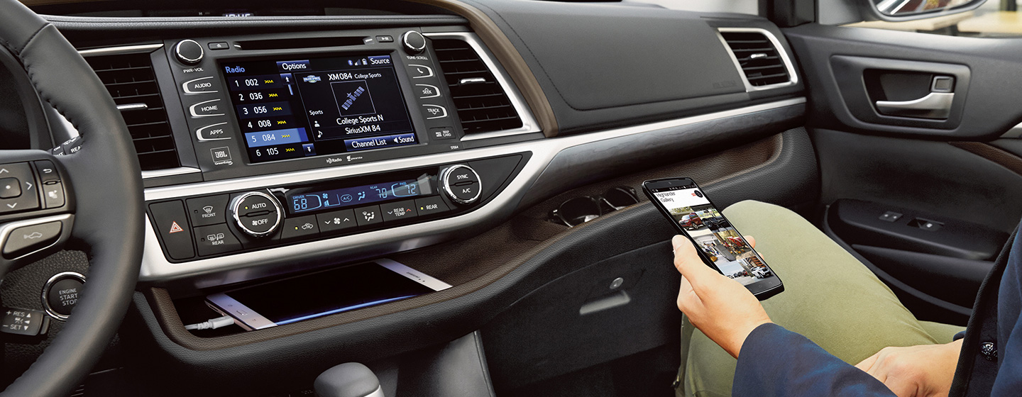 Safety features and interior of the 2019 Toyota Highlander - available at our Toyota dealership near Fort Lauderdale, FL.