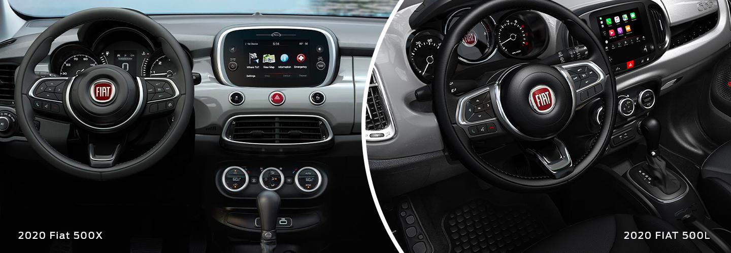 Split image of the interior features in the 2020 FIAT 500X and the 2020 FIAT 500L