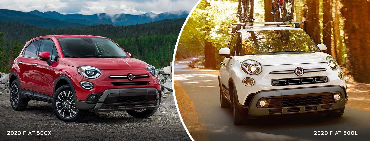 Split image of the 2020 FIAT 500X and 2020 FIAT 500L exteriors