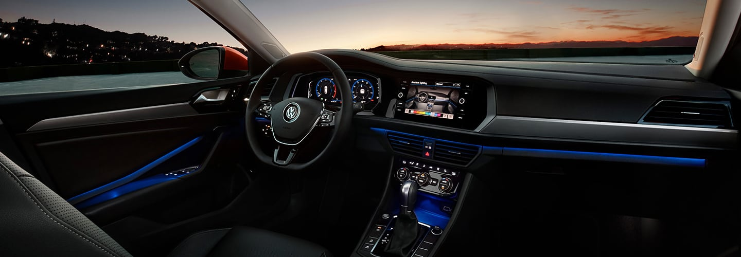 Drivers side perspective of the steering wheel inside the 2020 Volkswagen Jetta