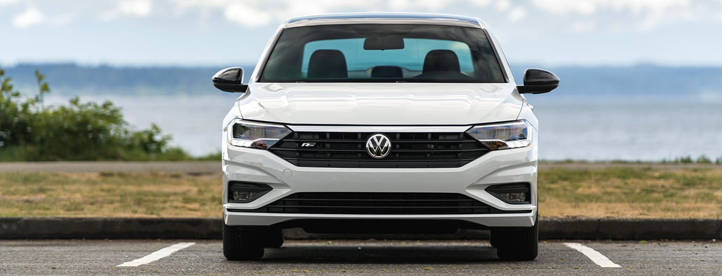 Close up of a white 2020 Volkswagen Jetta