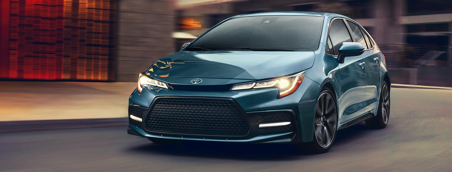 2020 Toyota Corolla turning on a road