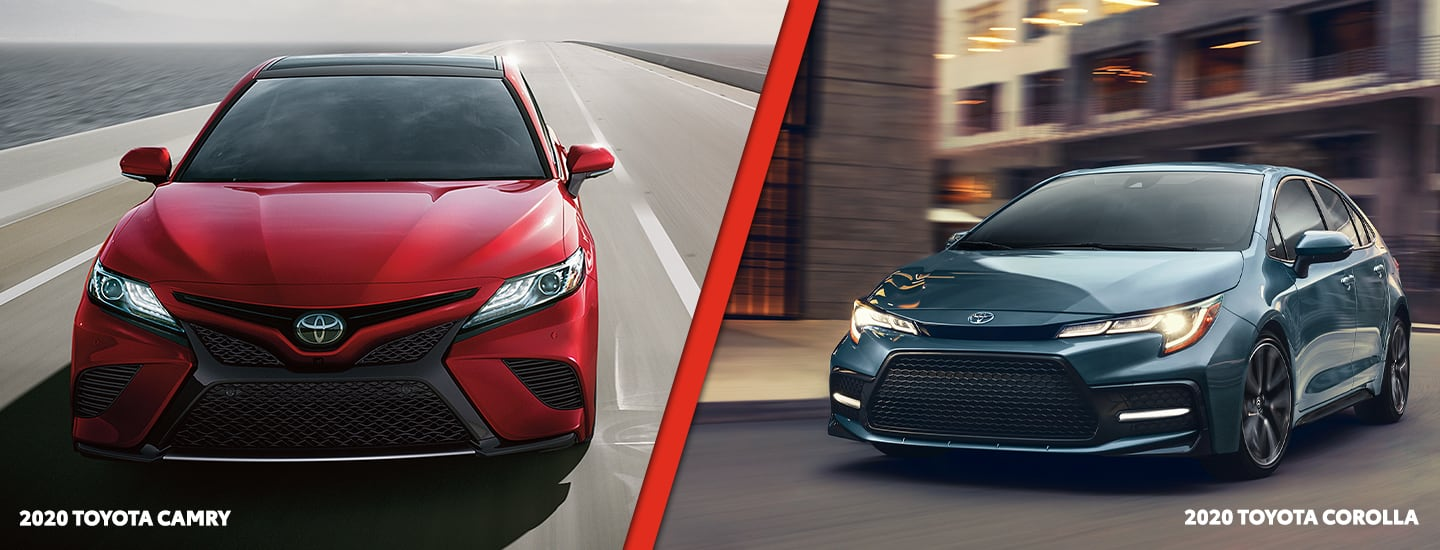 Exteriors of the 2020 Toyota Camry and 2020 Toyota Corolla