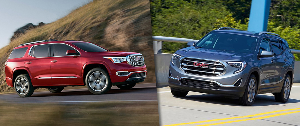 Safety features and exterior of the GMC Acadia and GMC Terrain at Rivertown Buick GMC in Columbus, GA
