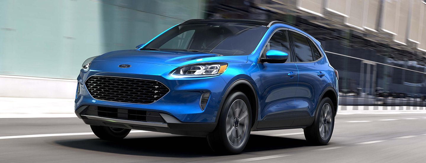Blue 2020 Ford Escape in motion