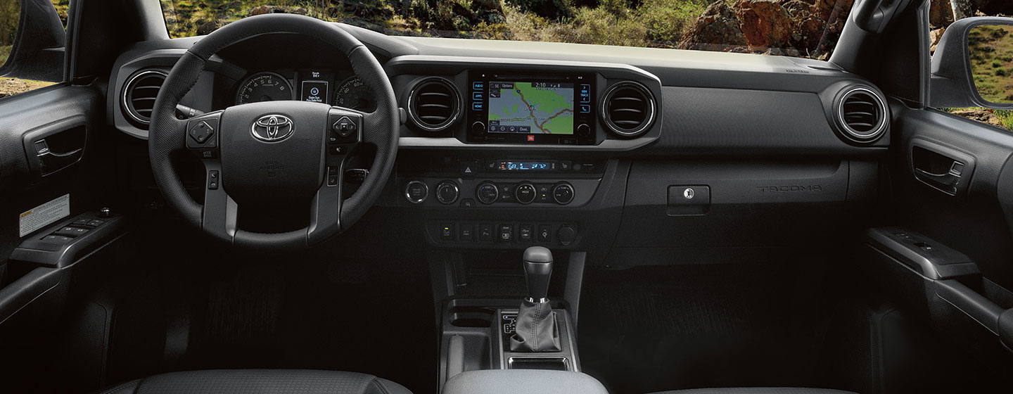Safety features and interior of the 2019 Toyota Tacoma - available at our Toyota dealership in Columbus, GA.