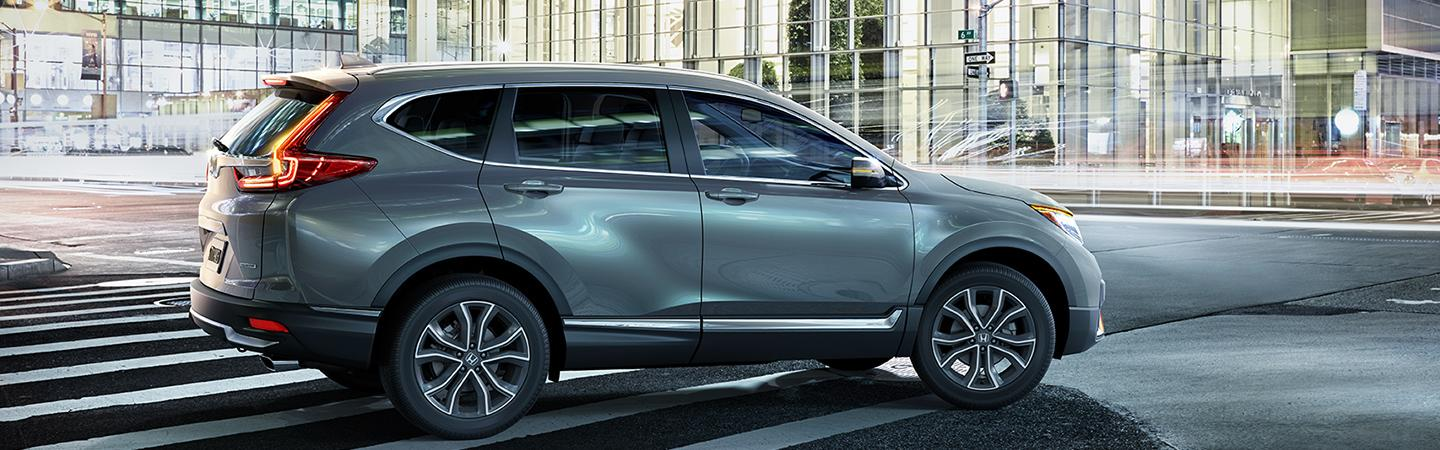 Side view of a blue-grey 2020 Honda CR-V parked