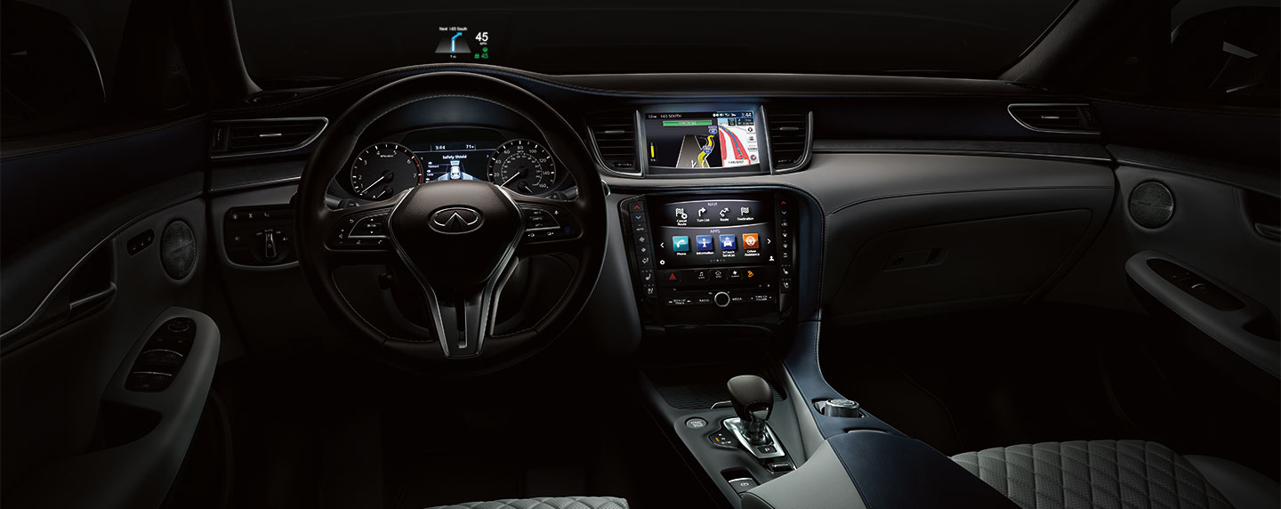 Driver seat and steering wheel of the 2019 INFINITI QX50