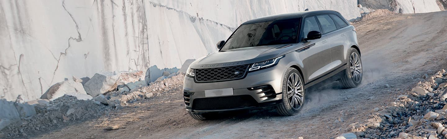 2019 Range Rover Velar going down a decline