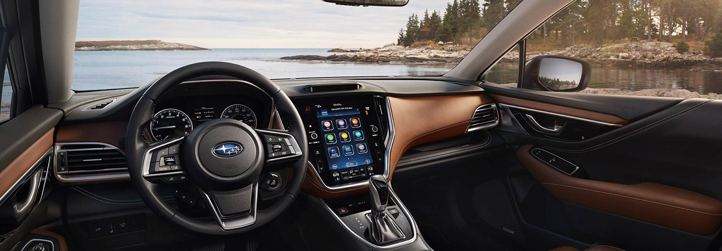 Interior and infotainment in the 2020 Subaru Outback.