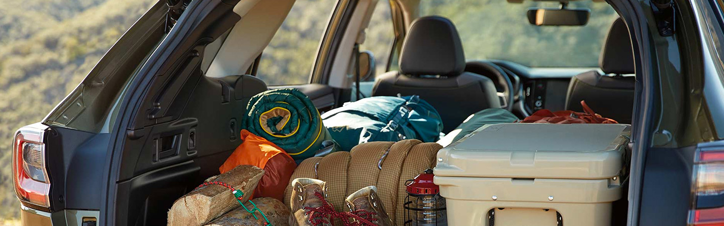 Camping supplies inside of the 2020 Subaru Outback hatch.