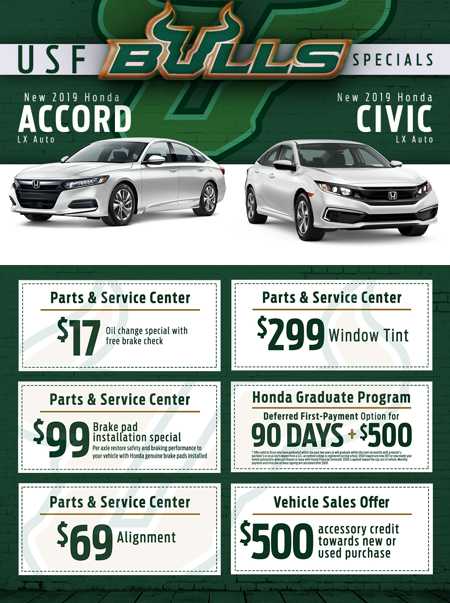 usf bulls specials brandon honda coupons