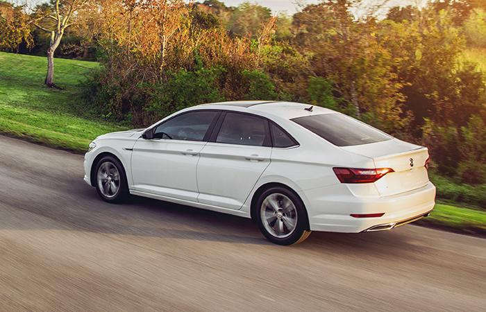 White VW Jetta rear view