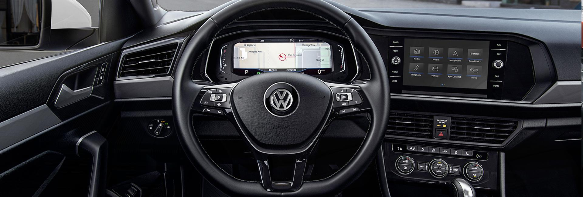 Steering wheel and infotainment view of the 2020 Jetta.