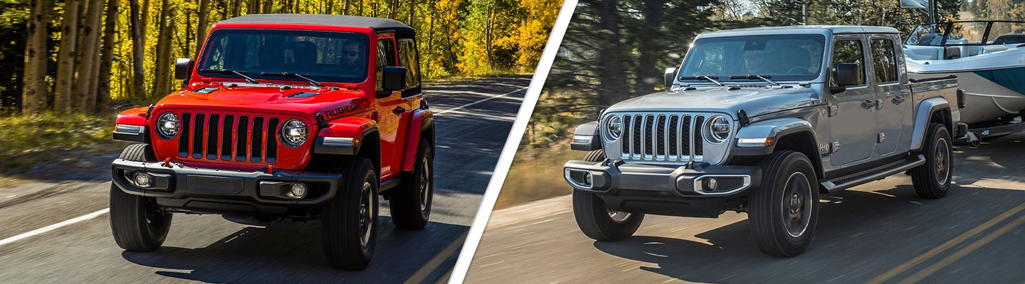 Compare Jeep Gladiator to Jeep Wrangler at Spitzer Jeep Dealer in Homestead.