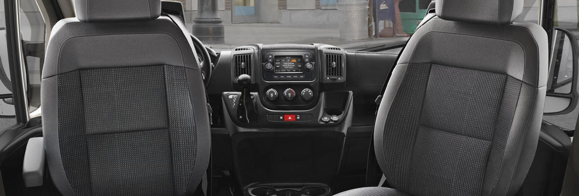 Passenger view of inside a RAM commercial van