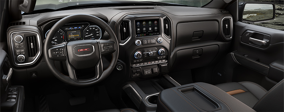 Safety features and interior of the 2019 GMC Sierra 1500 - available at our GMC dealership near Opelika-Auburn, AL.