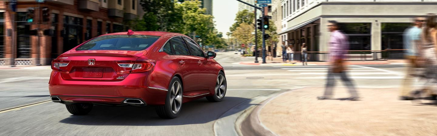 Rear view of red 2020 Honda Accord