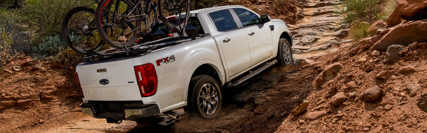 2020 Ford Ranger offroad climbing rock path