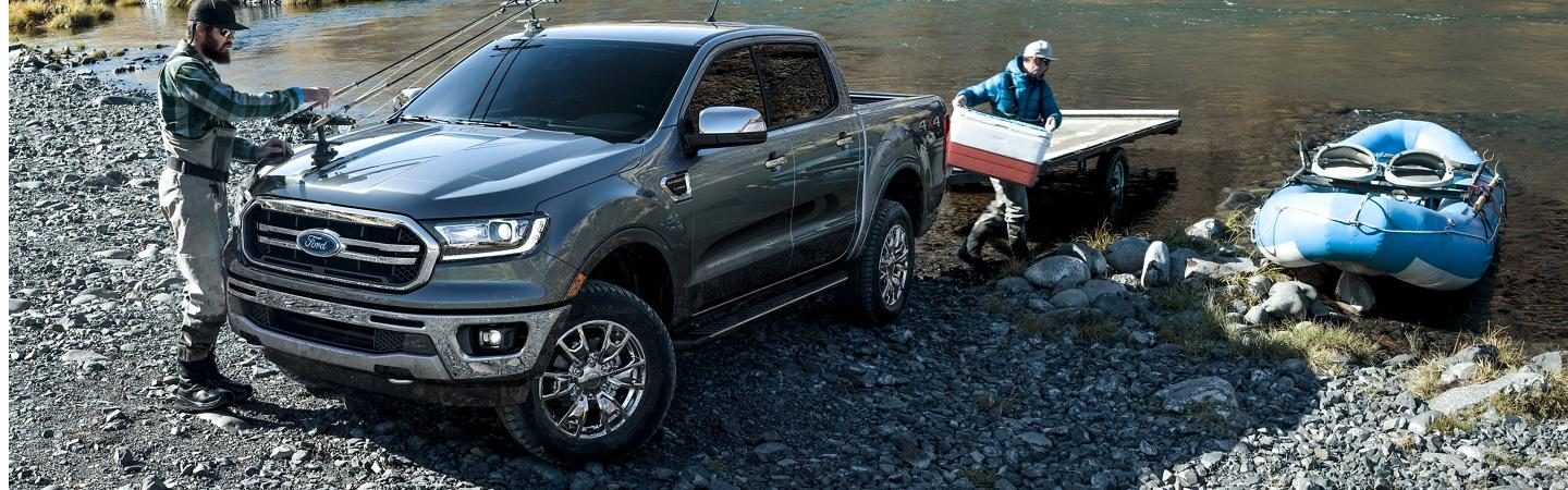 2020 Ford Ranger by the lake loading aboat with gear
