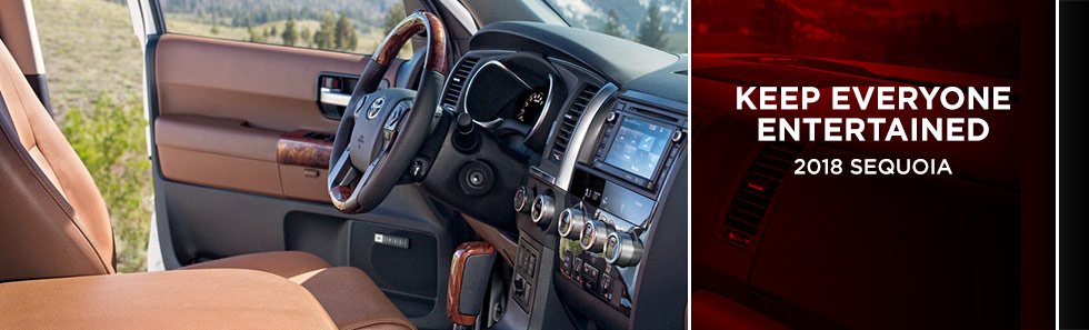 Safety features and interior of the 2018 Toyota Sequoia - available at Rivertown Toyota near Auburn-Opelika, AL and Columbus, GA