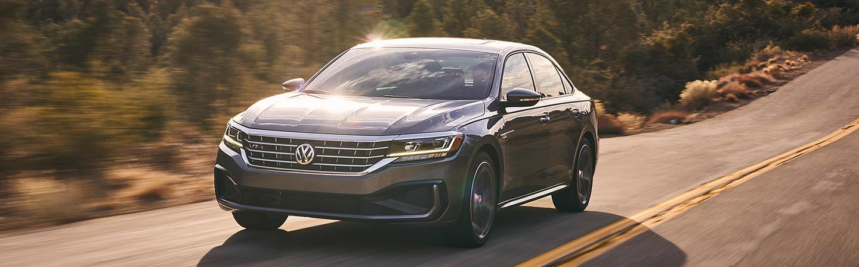 Front view of the 2021 Volkswagen Passat in motion