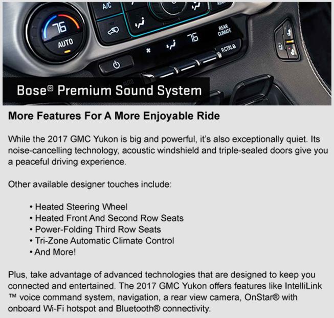 2017 GMC Yukon technology, advanced features, Southern GMC Greenbrier, Chesapeake, Portsmouth, Suffolk, Newport News, Elizabeth City