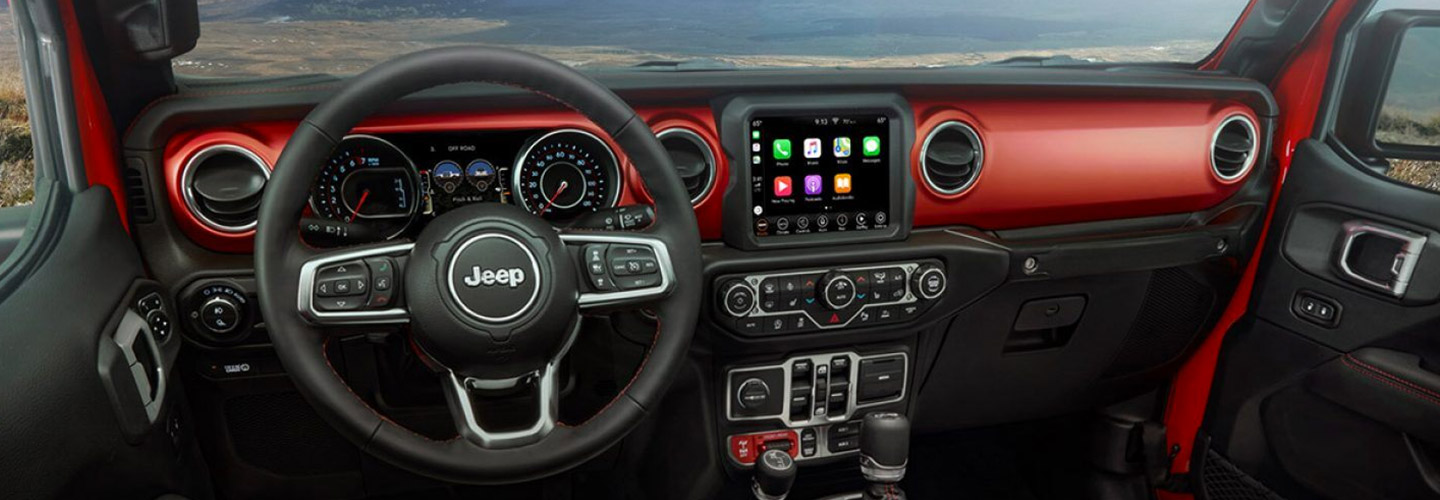 Picture of the interior of the new 2020 Jeep Gladiator for sale at Marlow Motor in Front Royal VA.