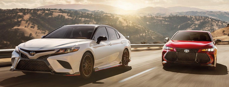 Toyota sedans in motion
