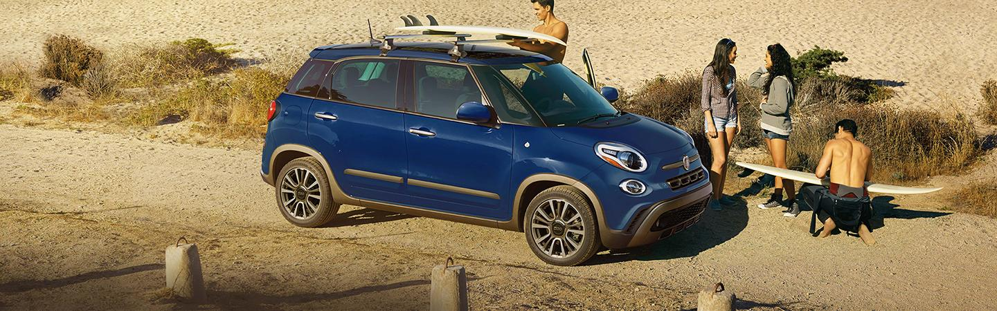 Aerial view of the 2020 FIAT 500L parked at the beach